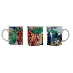 Taza mug Mujer campesina y vacas en un paisaje