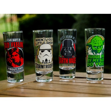 Set de 4 mini vasos con frases Star Wars