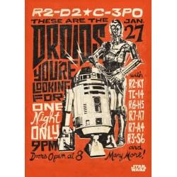Póster metálico R2D2 & C3PO Retro Star Wars
